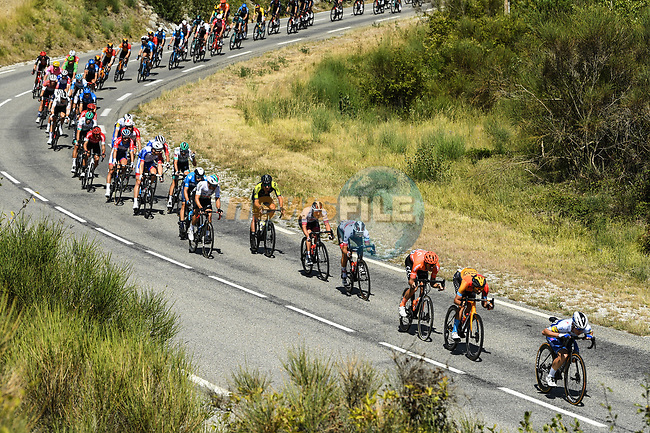 The peloton descend during Stage 5 of Tour de France 2020, running 183km from Gap to Privas, France. 2nd September 2020.<br /> Picture: ASO/Alex Broadway | Cyclefile<br /> All photos usage must carry mandatory copyright credit (© Cyclefile | ASO/Alex Broadway)