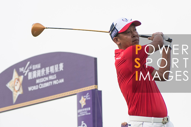 Wang Zhiwen tees off the 1st hole during the World Celebrity Pro-Am 2016 Mission Hills China Golf Tournament on 23 October 2016, in Haikou, China. Photo by Weixiang Lim / Power Sport Images
