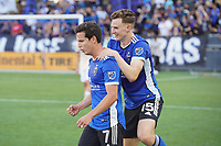 SAN JOSE, CA - AUGUST 8: Tanner Beason #15 of the San Jose Earthquakes celebrates with Carlos Fierro #7 after a game between Los Angeles FC and San Jose Earthquakes at PayPal Park on August 8, 2021 in San Jose, California.