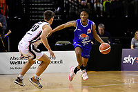 Kerwin Roach of the Wellington Saints dribbles the ball during the round one NBL match between the Wellington Saints and the Canterbury Rams at TSB Bank Arena, Wellington, New Zealand on Friday 30 April 2021.<br /> Photo by Masanori Udagawa. <br /> www.photowellington.photoshelter.com