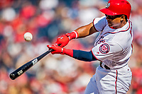 30 April 2017: Washington Nationals infielder Wilmer Difo at bat in the 7th inning against the New York Mets at Nationals Park in Washington, DC. The Nationals defeated the Mets 23-5, with the Nationals setting several individual and team records, in the third game of their weekend series. Mandatory Credit: Ed Wolfstein Photo *** RAW (NEF) Image File Available ***