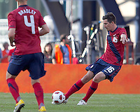 USA midfielder Sacha Kljestan (16) passes the ball. In a friendly match, Spain defeated USA, 4-0, at Gillette Stadium on June 4, 2011.