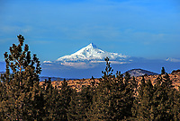 Mount Washington seen in the winter from the edge of the Deschutes NationaL Forest, Oregon.