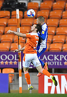 Blackpool's James Husband battles with Wigan Athletic's Joe Garner<br /> <br /> Photographer Dave Howarth/CameraSport<br /> <br /> The EFL Sky Bet League One - Blackpool v Wigan Athletic - Tuesday 3rd November 2020 - Bloomfield Road - Blackpool<br /> <br /> World Copyright © 2020 CameraSport. All rights reserved. 43 Linden Ave. Countesthorpe. Leicester. England. LE8 5PG - Tel: +44 (0) 116 277 4147 - admin@camerasport.com - www.camerasport.com