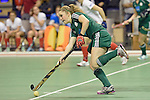 Berlin, Germany, February 01: Maike Schaunig #3 of HTC Uhlenhorst Muehlheim passes the ball during the 1. Bundesliga Damen Hallensaison 2014/15 final hockey match between Duesseldorfer HC (white) and HTC Uhlenhorst Muehlheim (green) on February 1, 2015 at the Final Four tournament at Max-Schmeling-Halle in Berlin, Germany. Final score 4-1 (1-0). (Photo by Dirk Markgraf / www.265-images.com) *** Local caption ***