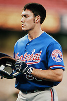 Peter Bergeron of the Montreal Expos during a game against the Los Angeles Dodgers at Dodger Stadium circa 1999 in Los Angeles, California. (Larry Goren/Four Seam Images)