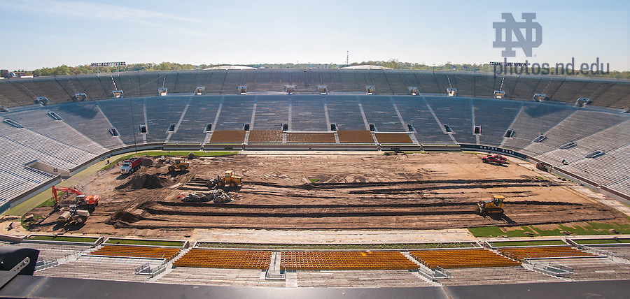 May 22, 2014; Conversion from natural grass to field turf in Notre Dame Stadium, summer 2014.<br /> <br /> Photo by Matt Cashore/University of Notre Dame