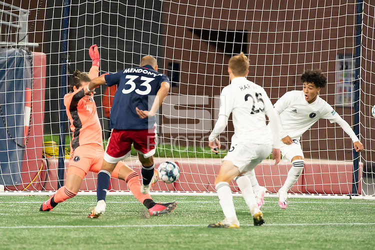 FOXBOROUGH, MA - OCTOBER 09: Tiago Mendonca #33 of New England Revolution II scores the New England Revolution II fourth goal during a game between Fort Lauderdale CF and New England Revolution II at Gillette Stadium on October 09, 2020 in Foxborough, Massachusetts.