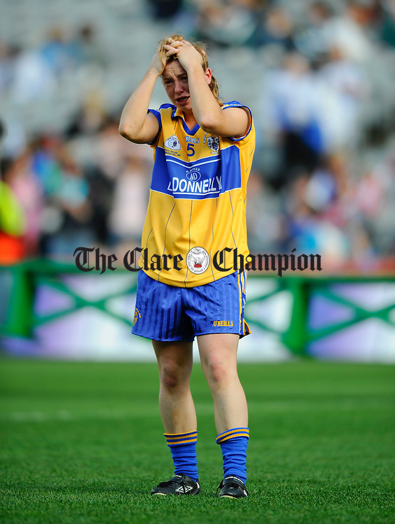 A clearly dissapointed Grace Lynch following the loss to Tipperary in the Intermediate Ladies Football final at Croke Park. Photograph by John Kelly.