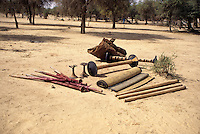 Akadaney, Central Niger, West Africa.  Fulani Nomads.  Portable Bed Disassembled into its Component Parts.