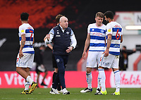 17th October 2020; Vitality Stadium, Bournemouth, Dorset, England; English Football League Championship Football, Bournemouth Athletic versus Queens Park Rangers; Mark Warburton Manager of Queens Park Rangers with his players after the match
