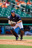 Montgomery Biscuits catcher Brett Sullivan (7) gets set to throw to first base during a game against the Biloxi Shuckers on May 8, 2018 at Montgomery Riverwalk Stadium in Montgomery, Alabama.  Montgomery defeated Biloxi 10-5.  (Mike Janes/Four Seam Images)