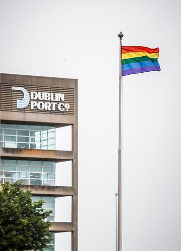 Dublin Port headquarters flies the Pride flag. A Virtual Pride Parade will take place tomorrow