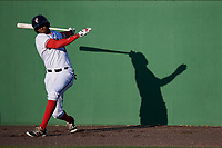 Potomac Nationals third baseman Kelvin Gutierrez (3) on deck during the first game of a doubleheader against the Salem Red Sox on May 13, 2017 at G. Richard Pfitzner Stadium in Woodbridge, Virginia.  Potomac defeated Salem 6-0.  (Mike Janes/Four Seam Images)
