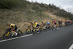 The peloton including Yellow Jersey Primoz Rogloc (SLO) Team Jumbo-Visma during Stage 5 of Paris-Nice 2021, running 200km from Vienne to Bollene, France. 11th March 2021.<br /> Picture: ASO/Fabien Boukla   Cyclefile<br /> <br /> All photos usage must carry mandatory copyright credit (© Cyclefile   ASO/Fabien Boukla)