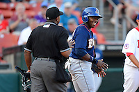 Durham Bulls outfielder Jason Bourgeois #33 argues being called out at home by umpire Kelvin Bultron during a game against the Buffalo Bisons on June 24, 2013 at Coca-Cola Field in Buffalo, New York.  Durham defeated Buffalo 7-1.  (Mike Janes/Four Seam Images)