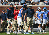 Ole Miss head coach Lane Kiffin reacts, Saturday, October 9, 2021 during the second quarter of a football game at Vaught Hemingway Stadium in Oxford, Miss. Check out nwaonline.com/211010Daily/ for today's photo gallery. <br /> (NWA Democrat-Gazette/Charlie Kaijo)