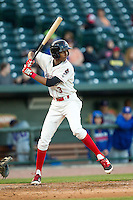 Great Lakes Loons shortstop Brendon Davis (3) at bat against the South Bend Cubs on May 18, 2016 at Dow Diamond in Midland, Michigan. Great Lakes defeated South Bend 5-4. (Andrew Woolley/Four Seam Images)