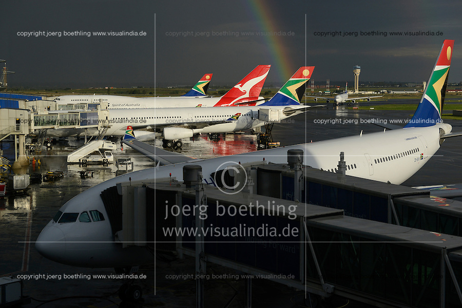 SOUTH-AFRICA, airport Johannesburg, airplanes of south african airline, rainbow