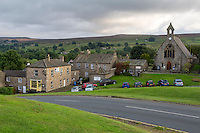 UK, England, Yorkshire, Reeth.  Church and Village Green.
