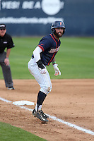 Taylor Bryant (1) of the Cal State Fullerton Titans leads off of third base during a game against the Wichita State Shockers at Goodwin Field on March 13, 2016 in Fullerton, California. Cal State Fullerton defeated Wichita State, 7-1. (Larry Goren/Four Seam Images)