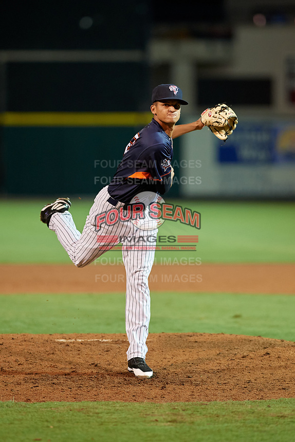Tampa Yankees pitcher Anyelo Gomez (22) during the Florida State League All-Star Game on June 17, 2017 at Joker Marchant Stadium in Lakeland, Florida.  FSL North All-Stars defeated the FSL South All-Stars  5-2.  (Mike Janes/Four Seam Images)