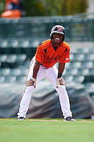 GCL Orioles pinch hitter Markel Jones (17) leads off first during a game against the GCL Twins on August 11, 2016 at the Ed Smith Stadium in Sarasota, Florida.  GCL Twins defeated GCL Orioles 4-3.  (Mike Janes/Four Seam Images)