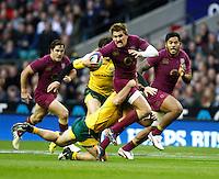 Photo: Richard Lane/Richard Lane Photography. England v Australia. QBE Autumn Internationals. 17/11/2012. England's Toby Flood attacks.