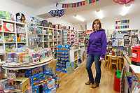 Pictured: Liberal Democrat candidate Sally Stephenson at her shop Pencil Case in Cowbridge, Wales, UK. Wednesday 06 November 2019<br /> Re: People in Cowbridge share their views after the Vale of Glamorgan MP Alun Cairns announced that he has resigned from his role as a Secretary for Wales.