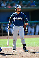 Nathan Rodriguez (17) of the Helena Brewers at bat against the Ogden Raptors in Pioneer League action at Lindquist Field on July 17, 2016 in Ogden, Utah. Ogden defeated Helena 5-4.  (Stephen Smith/Four Seam Images)