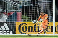 FOXBOROUGH, MA - JULY 9: Caleb Patterson-Sewell #40 of Toronto FC II takes a goal kick during a game between Toronto FC II and New England Revolution II at Gillette Stadium on July 9, 2021 in Foxborough, Massachusetts.
