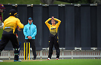 Xara Jetly bowls during the women's Hallyburton Johnstone Shield one-day cricket match between the Wellington Blaze and Northern Districts at the Basin Reserve in Wellington, New Zealand on Saturday, 21 November 2020. Photo: Dave Lintott / lintottphoto.co.nz