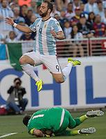 Action photo during the match Argentina vs Chile, Corresponding Group -D- America Cup Centenary 2016, at Levis Stadium<br /> <br /> Foto de accion durante el partido Argentina vs Chile, Correspondiante al Grupo -D-  de la Copa America Centenario USA 2016 en el Estadio Levis, en la foto: (i-d) Claudio Bravo de Chile y  Gonzalo Higuain de Argentina<br /> <br /> <br /> 06/06/2016/MEXSPORT/David Leah.