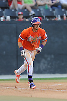 Right fielder Steven Duggar (9) of the Clemson Tigers bats in a game against the Wofford College Terriers on Tuesday, May 5, 2015, at Russell C. King Field in Spartanburg, South Carolina. Wofford won, 17-9. (Tom Priddy/Four Seam Images)