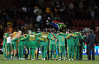 South Africa huddle together at full-time. Brazil defeated South Africa 1-0 during the semi-finals of the FIFA Confederations Cup at Ellis Park Stadium in Johannesburg, South Africa on June 25, 2009..
