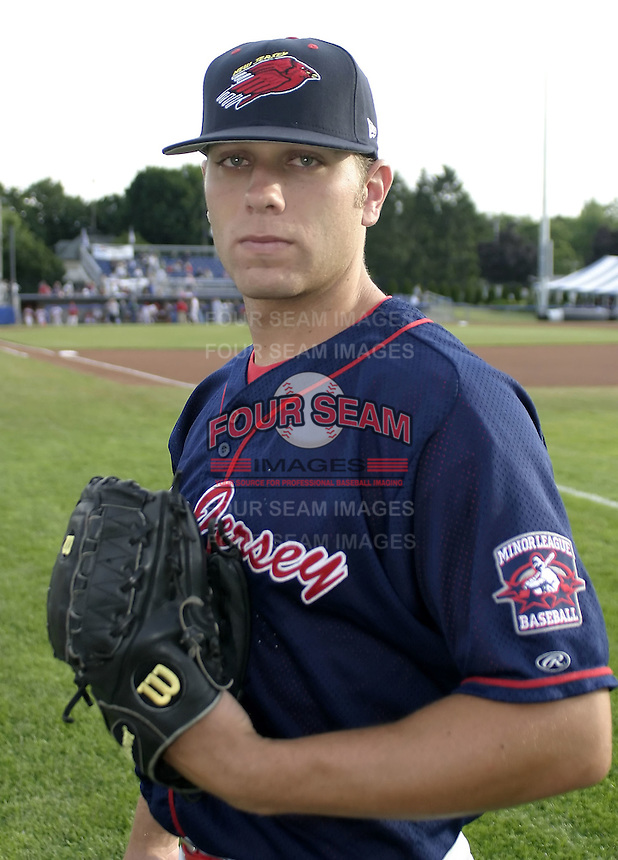June 25, 2004:  Pitcher Jeremy Zick of the New Jersey Cardinals, Short-Season Low-A NY-Penn League affiliate of the St. Louis Cardinals, during a game at Dwyer Stadium in Batavia, NY.  Photo by:  Mike Janes/Four Seam Images