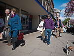 Lord Street Southport, Shoppers pictured on a sunny Sunday afternoon.