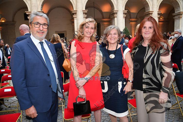 LAURA MATTARELLA CON COSIMO COMELLA E HELEN MASSET<br /> RICEVIMENTO 14 LUGLIO 2021 AMBASCIATA DI FRANCIA<br /> PALAZZO FARNESE ROMA