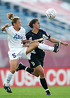 Shannon Boxx of the Power and Nikki Serlenga of the Beat both go for the ball. The Atlanta Beat and the NY Power played to a 1-1 tie on 7/26/03 at Mitchel Athletic Complex, Uniondale, NY.
