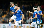 Motherwell v St Johnstone…20.10.18…   Fir Park    SPFL<br />Jason Kerr celebrates with Matty Kennedy, Joe Shaughnessy and Chris Kane after scoring the winning goal<br />Picture by Graeme Hart. <br />Copyright Perthshire Picture Agency<br />Tel: 01738 623350  Mobile: 07990 594431