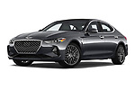 Stock pictures of low aggressive front three quarter view of a 2019 Genesis G70  Prestige 4 Door Sedan