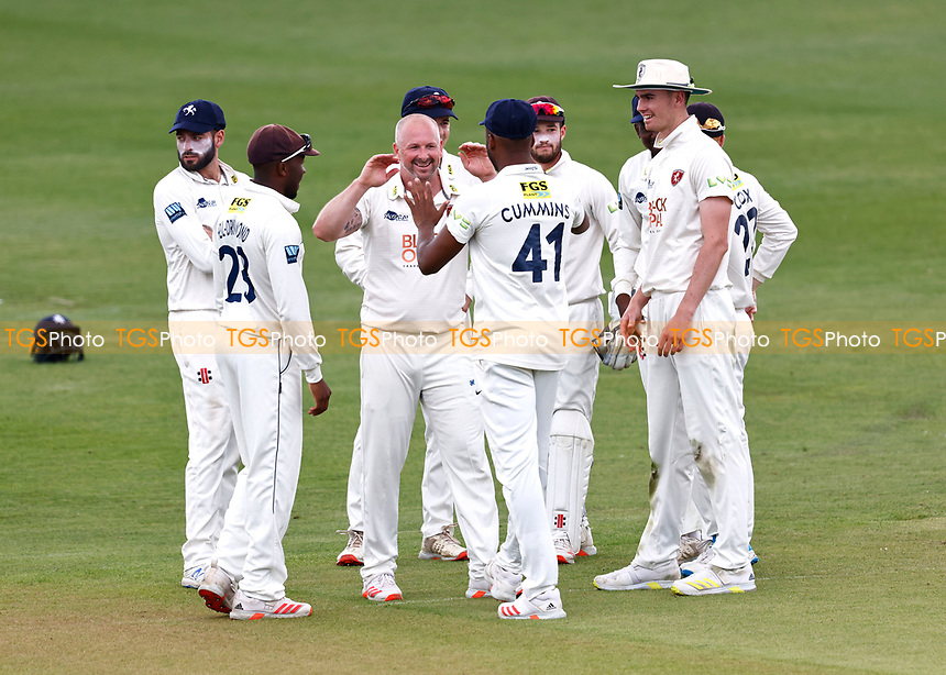 Darren Stevens (3rd L) of Kent is congratulated after taking the wicket of Ricardo Vasconcelos during Kent CCC vs Northamptonshire CCC, LV Insurance County Championship Group 3 Cricket at The Spitfire Ground on 6th June 2021