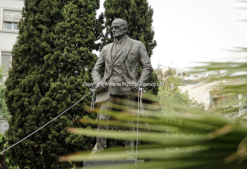 Pictured: The statue of Harry S. Truman in Vassileos Georgiou Street in central Athens, Greece. Monday 16 April 2018<br /> Re: Clashes broke out between protesters and the police when members of the Greek Communist Party (KKE) attempted to vandalise the statue of former US President Harry S. Truman, during a protest against the bombing of Syria by the US and its allies.