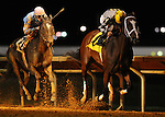 18 September 10:  Miss Red Delicious and jockey Travis Dunkelberger (2) were secong to Miss Dolce and jockey Luis Perez (4) until a disqualification gave them a win in the Pink Ribbon Stakes on Charles Town Oaks Night at Charles Town Race and Slots in West Virginia.