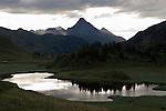 Austria, Vorarlberg, Warth: mystic scene at Kalbele Lake at Hochtannberg passroad