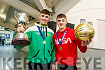 Daire Kennelly captain and Steven Bowler MVP of the Mercy Mounthawk basketball team celebrate winning the U-19 All Ireland Basketball final at the school on Wednesday.