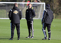 Pictured: Wednesday 05 November 2014<br /> Re: Swansea City FC players training at Fairwood training ground, ahead of their Premier League game against Arsenal on Sunday.