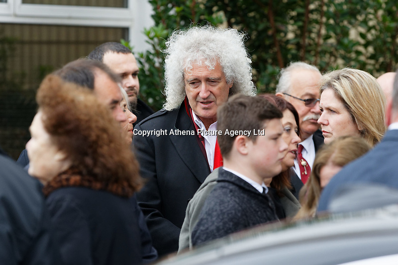 """Pictured: Brian May of The Queen attends the service at Aberavon Beach Hotel in Port Talbot, Wales, UK. Monday 08 October 218<br /> Re: A grieving father will mourners on horseback at the funeral of his """"wonderful"""" son who killed himself after being bullied at school.<br /> Talented young horse rider Bradley John, 14, was found hanged in the school toilets by his younger sister Danielle.<br /> Their father, farmer Byron John, 53, asked the local riding community to wear their smart hunting gear at Bradley's funeral.<br /> Police are investigating Bradley's death at the 500-pupils St John Lloyd Roman Catholic school in Llanelli, South Wales.<br /> Bradley's family claim he had been bullied for two years after being diagnosed with Attention Deficit Hyperactivity Disorder.<br /> He went missing during lessons and was found in the toilet cubicle by his sister Danielle, 12."""