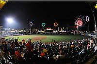 MCU Park has fire works show after game between the Connecticut Tigers and Brooklyn Cyclones at MCU Park on August 03, 2012 in Brooklyn, NY.  Brooklyn defeated Connecticut 3-0.  Tomasso DeRosa/Four Seam Images
