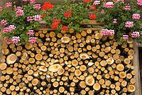 Interlaken Bernese Alps Switzerland - Wood stacked outside Swiss wooden house